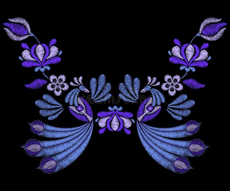 Broderia z pawimi ptakami, skacze indygowi kwiaty Neckline f royalty ilustracja