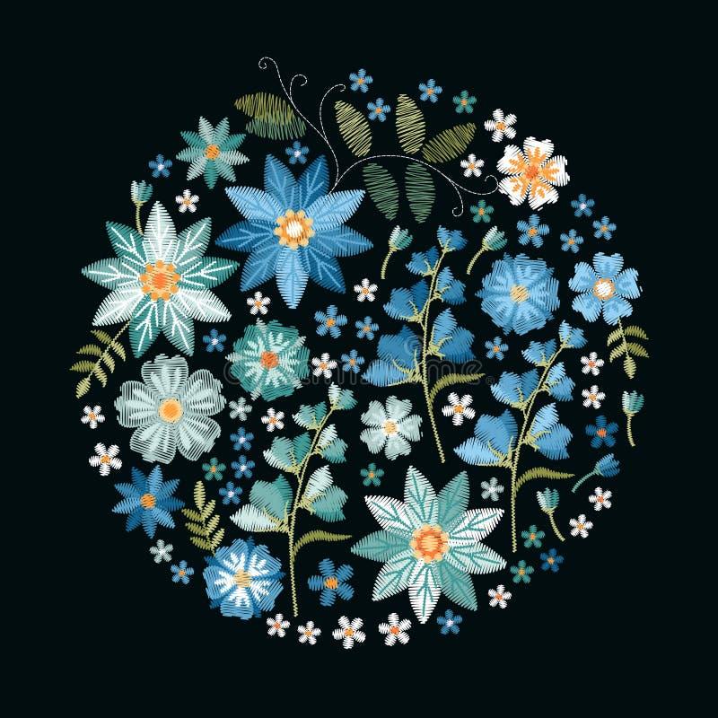 Brodericirkelmodell med härliga blåa blommor Broderad sammansättning på svart bakgrund Blom- vektorillustration stock illustrationer
