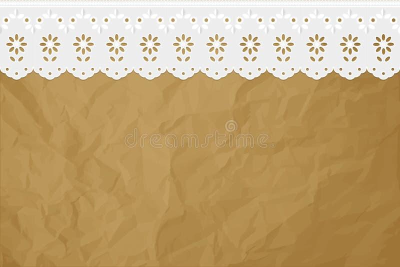 Broderie à jour sur un fond brun de papier chiffonné illustration de vecteur