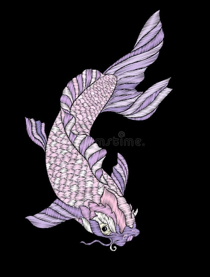 broderie Élément brodé de conception - poisson - carpe - dans le vintag illustration stock