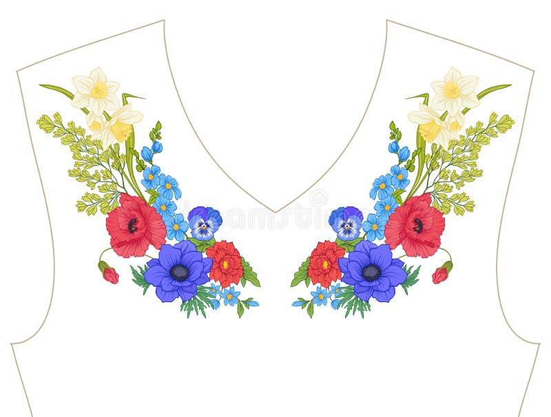 broderie Éléments brodés de conception avec le bouquet d'été illustration stock