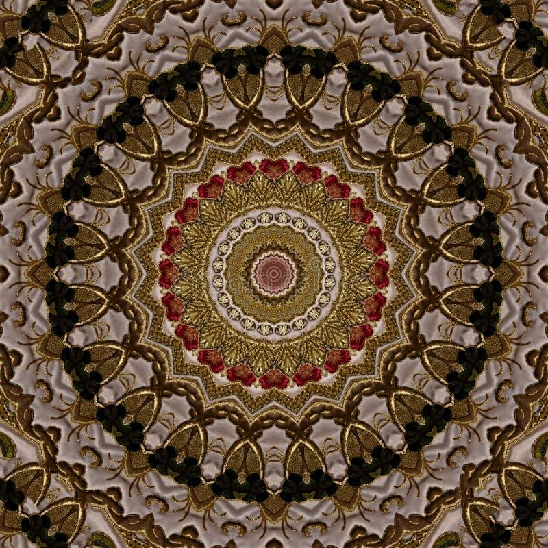 Broderie avec le modèle d'or de cru, reflété par le kaléidoscope illustration de vecteur