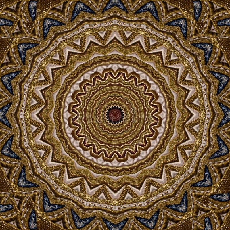 Broderie avec le modèle d'or de cru, reflété par le kaléidoscope illustration stock