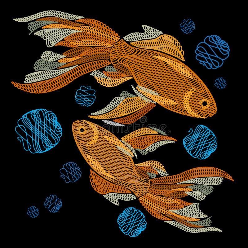 Broderie avec les poissons d'or sur un fond noir G brodé illustration stock