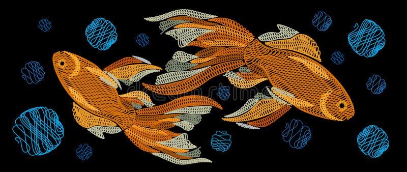 Broderie avec les poissons d'or sur un fond noir Le VE horizontal illustration de vecteur