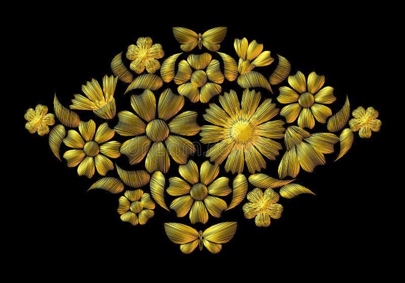 Broderie brillante sur un fond noir, fleurs d'or illustration libre de droits