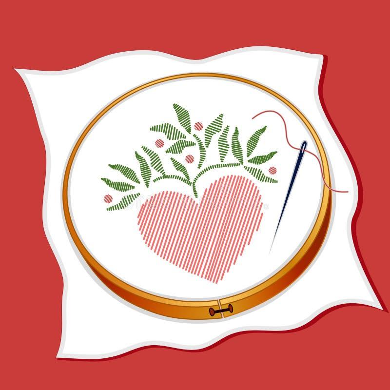 Broderie de coeur illustration libre de droits