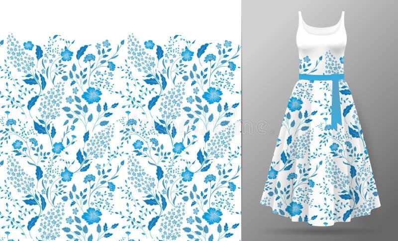 Broderie de fleur sur la moquerie de robe  Façonnez à correction de décoration les vêtements réalistes de femme d'illustration du illustration libre de droits