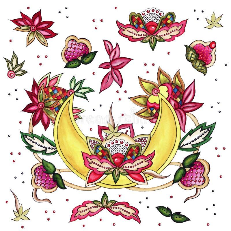 Broderie de fleurs magiques de la lune broderie de tissus bourgeons jaunes boucles feuilles points illustration stock