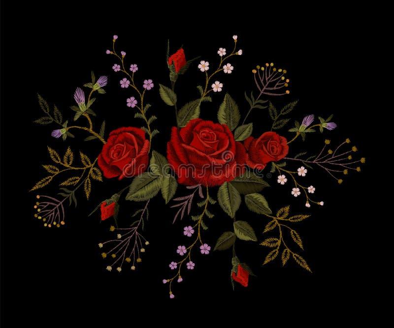 Broderie de rose de rouge sur le fond noir Collier d'imitation de correction de décoration de mode de point de satin Fleur de tex illustration libre de droits