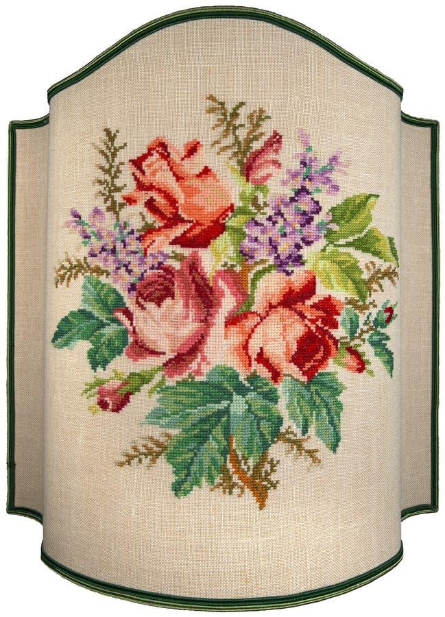 Broderie de vintage - fleurs et feuilles de roses photo stock