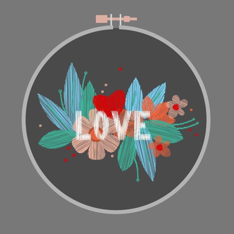 Broderie florale avec amour de mot Illustration de vecteur illustration stock