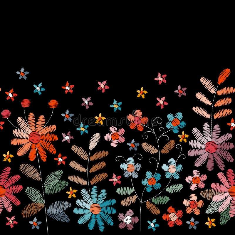 Broderie florale Frontière brodée sans couture avec des fleurs et des feuilles dans des couleurs de cru fancywork illustration stock