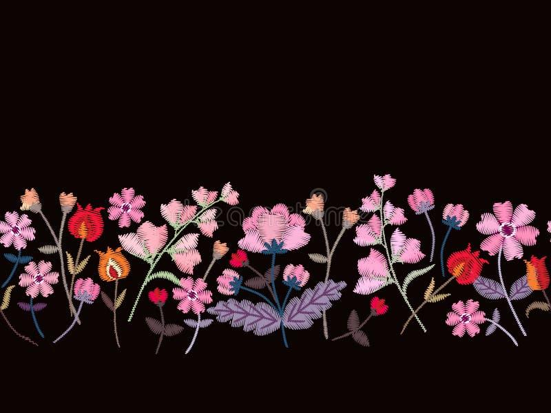 Broderie florale Frontière sans couture avec de belles fleurs roses sur le fond noir Conception de mode Illustration de vecteur illustration de vecteur
