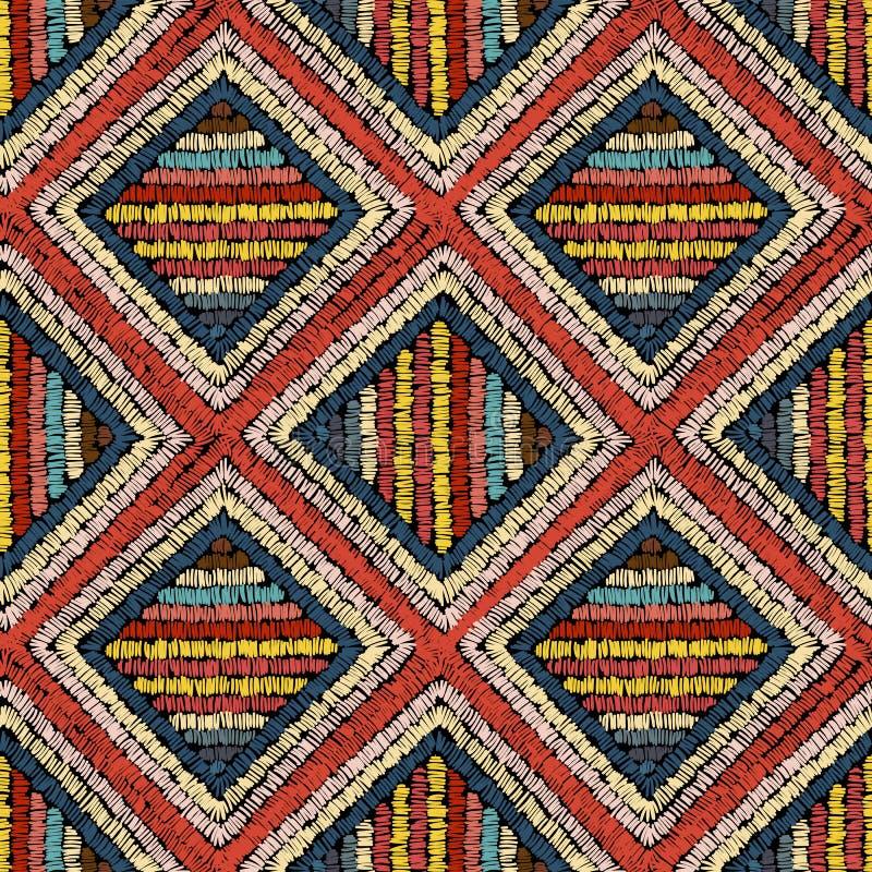 Broderie - ornement sans couture Discriminations raciales sur un fond noir handmade Motifs ethniques et tribals Copie dans le boh illustration de vecteur
