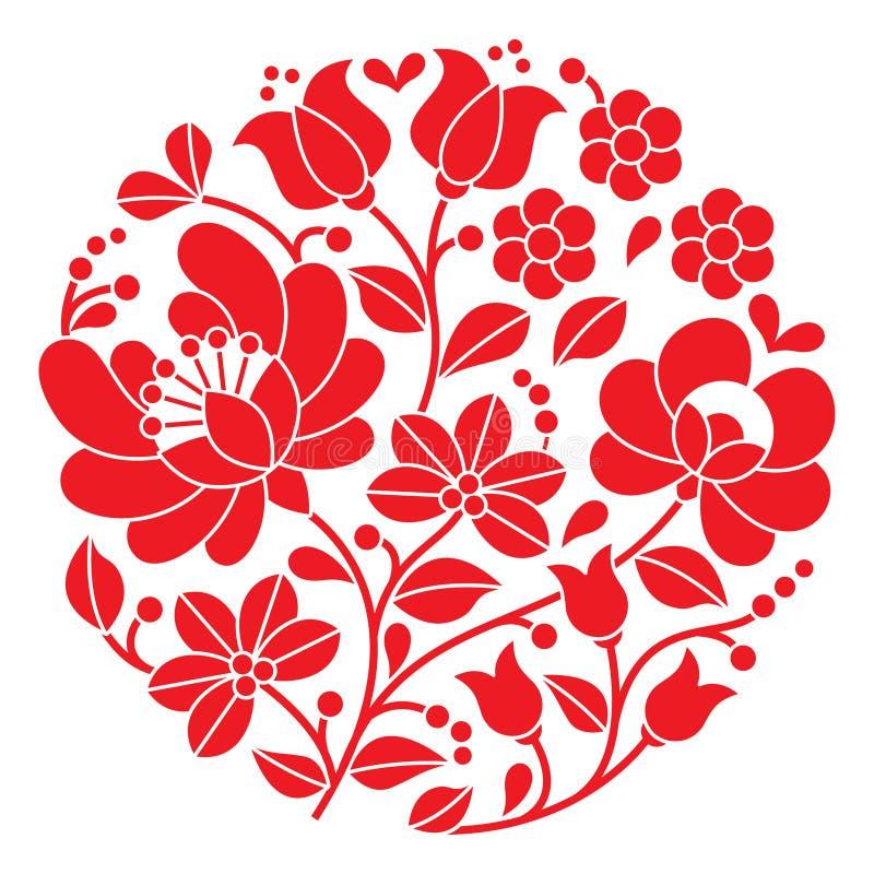 Broderie rouge de Kalocsai - modèle folklorique floral rond hongrois illustration libre de droits