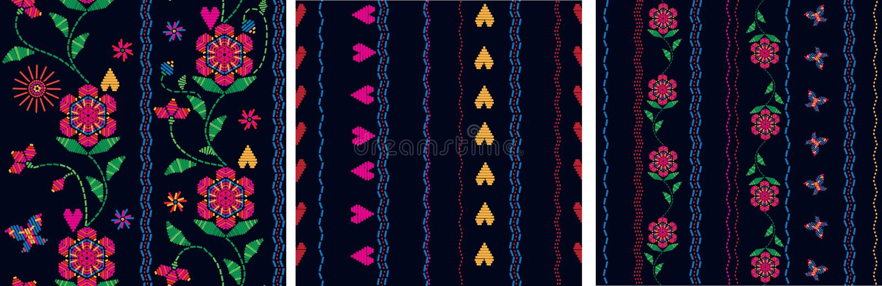 Broderie traditionnelle florale Conception ethnique de texture illustration stock