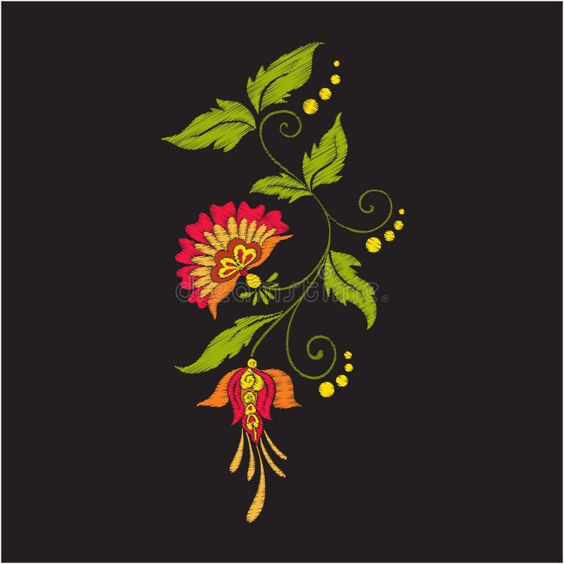Broderitappning blommar buketten eller modellen stock illustrationer