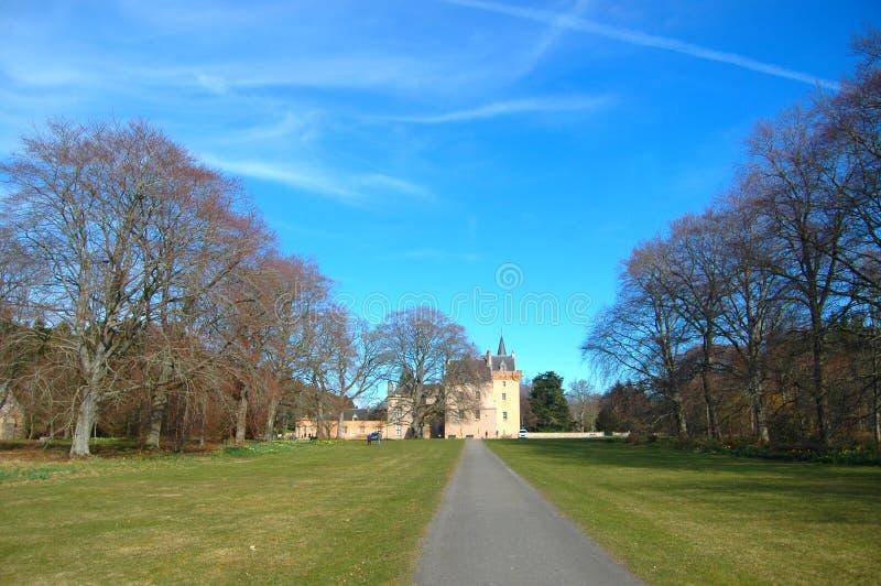 Brodie Castle e estrada fotos de stock royalty free