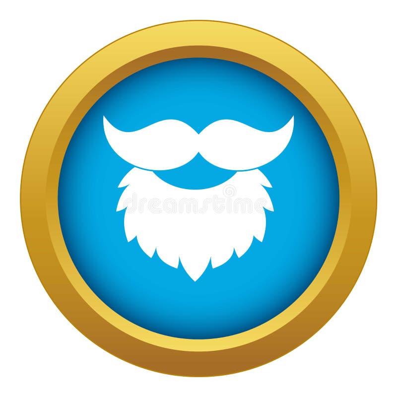 Brody i wąsy ikony błękitny wektor odizolowywający ilustracja wektor