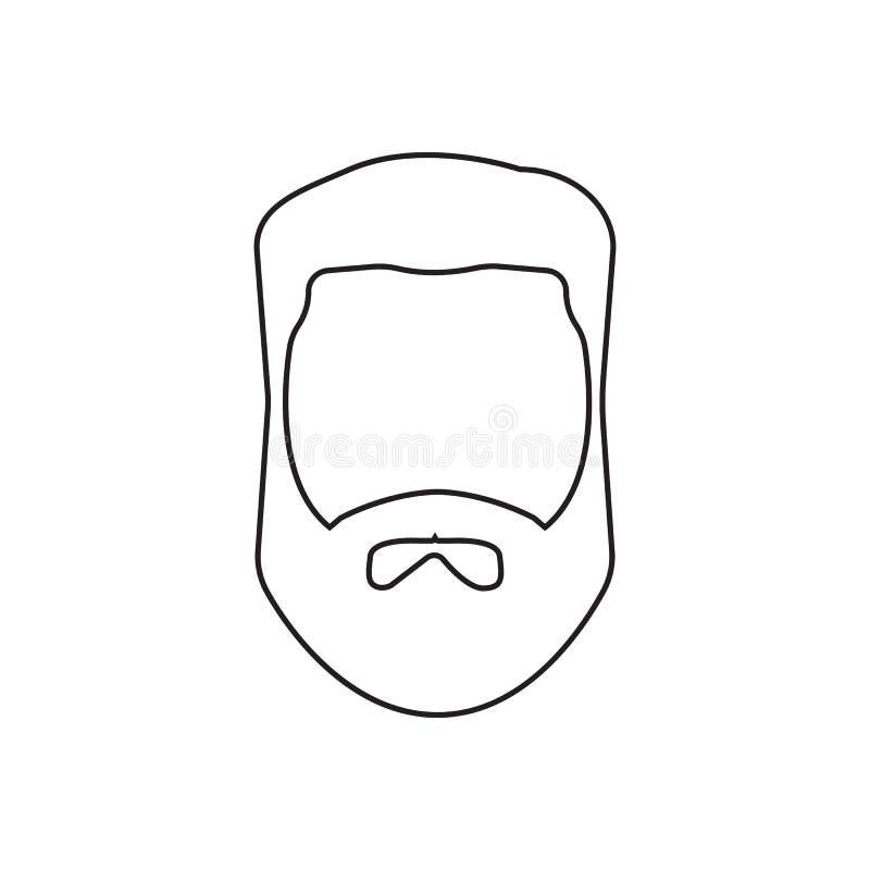 Brody ikona Element fryzjer męski dla mobilnego pojęcia i sieci apps ikony Kontur, cienka kreskowa ikona dla strona internetowa p ilustracja wektor