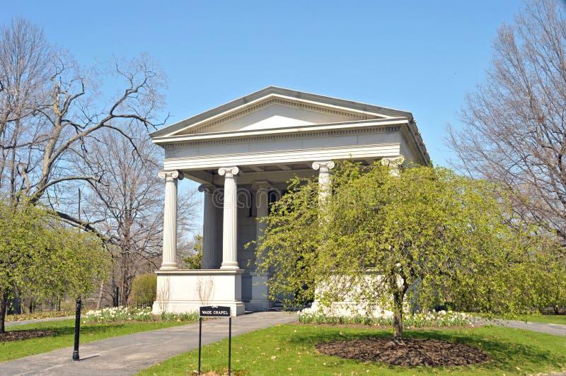 Brodzenie Pamiątkowa kaplica, Lakeview cmentarz Cleveland  obrazy royalty free