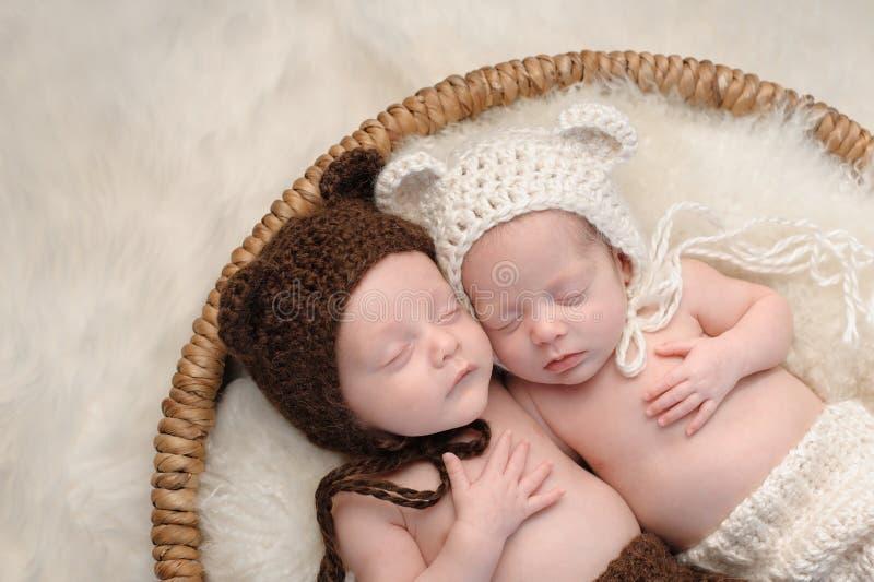 Broederlijke Tweelingbabybroer en Zuster in Beerhoeden royalty-vrije stock afbeelding