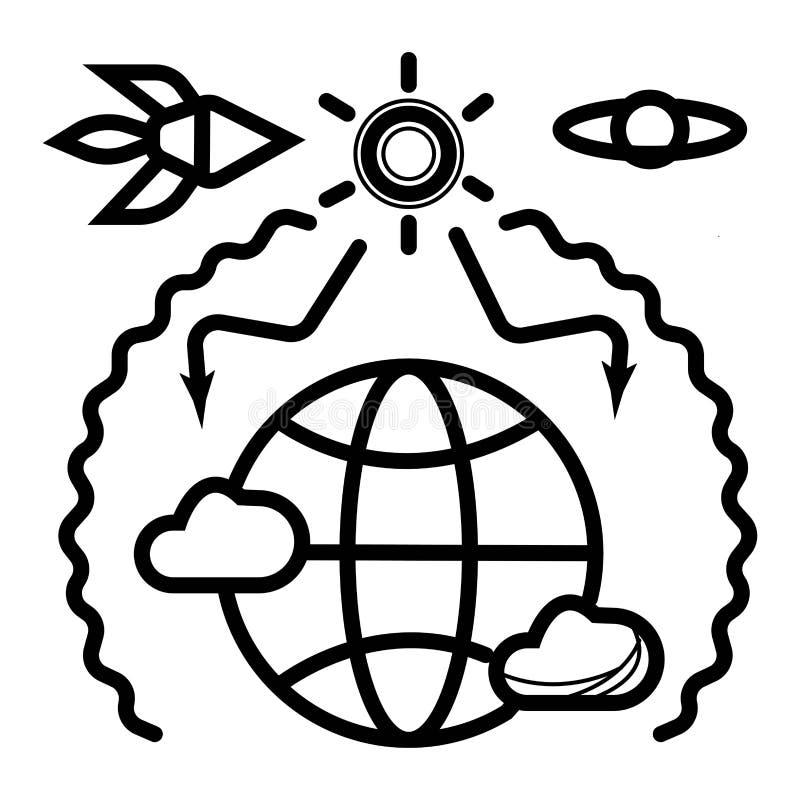 Broeikaseffect en globale verwarmende vectorillustratie stock illustratie