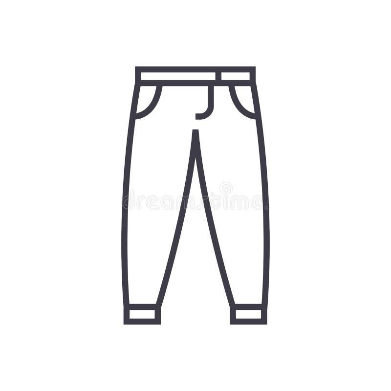 Broek, pictogram van de broeken het vectorlijn, teken, illustratie op achtergrond, editable slagen royalty-vrije illustratie