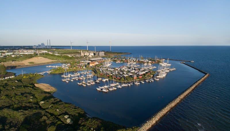 Broendby港口,丹麦鸟瞰图  免版税图库摄影
