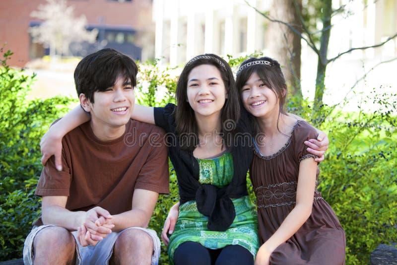 Broer drie en zusters die in openlucht op logboek, het glimlachen zitten stock afbeelding