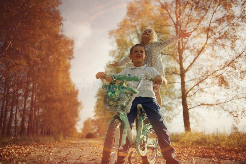 Broer en zuster bij de herfstweg royalty-vrije stock foto's