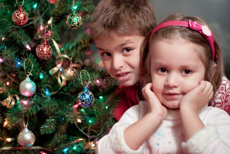 Broer en zuster bij Kerstmis royalty-vrije stock foto