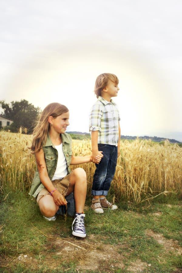 broer en zuster die pret op het tarwegebied hebben stock foto's