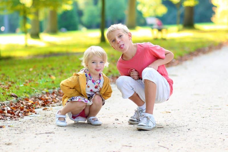 Broer en zuster het spelen in de herfstpark royalty-vrije stock foto