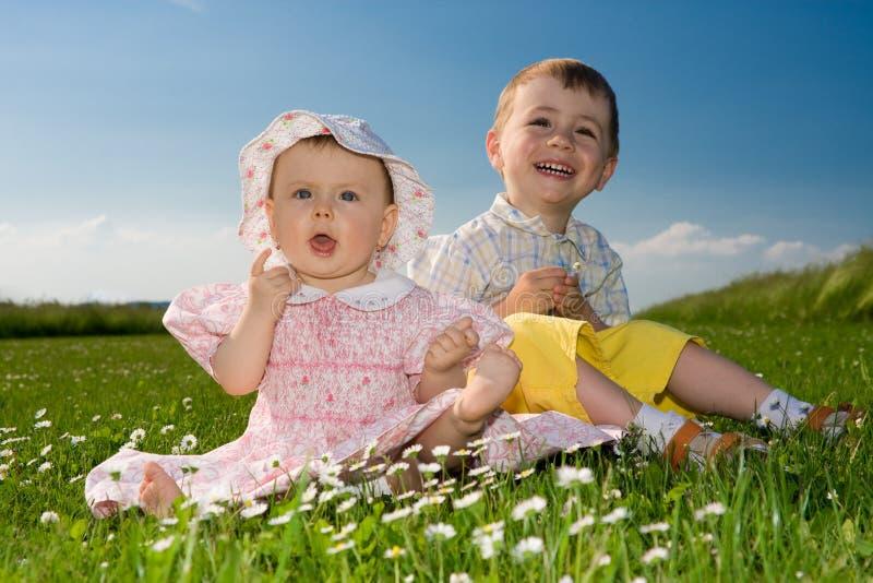 Broer en zuster in weide stock afbeelding