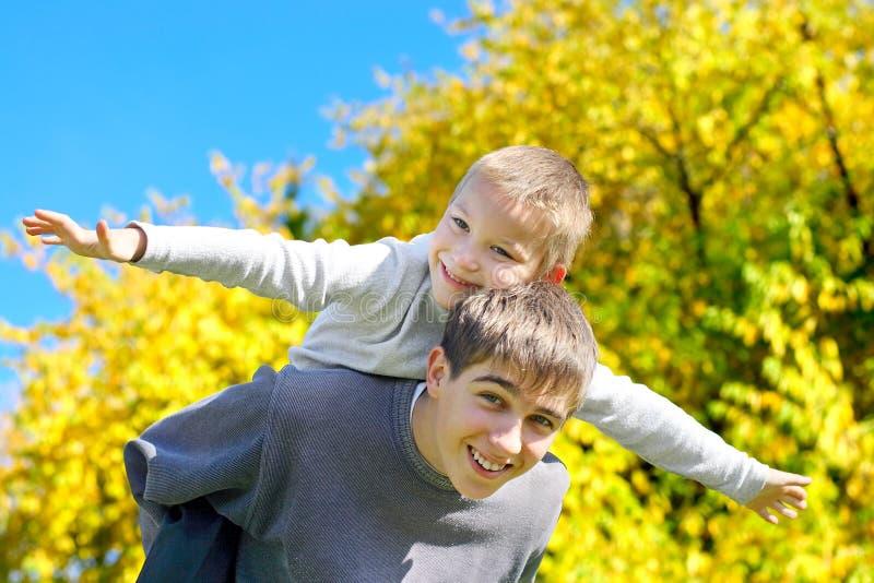 Broers in het park royalty-vrije stock foto