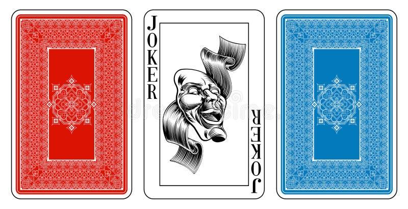 Broformatjoker som spelar kortet plus omvänt stock illustrationer