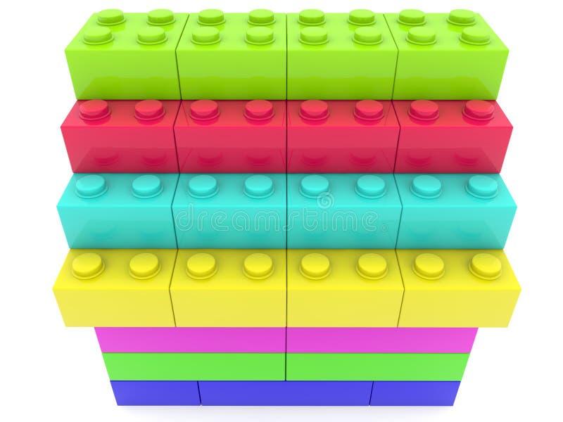 Brogować kolorowe zabawkarskie cegły ilustracji