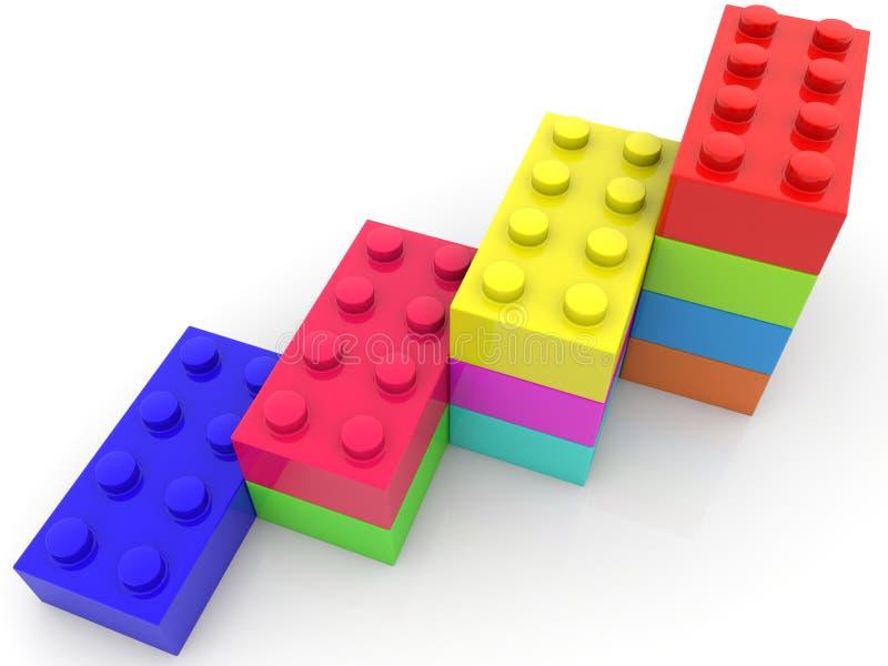 Brogować kolorowe zabawkarskie cegły w rzędzie ilustracja 3 d ilustracji