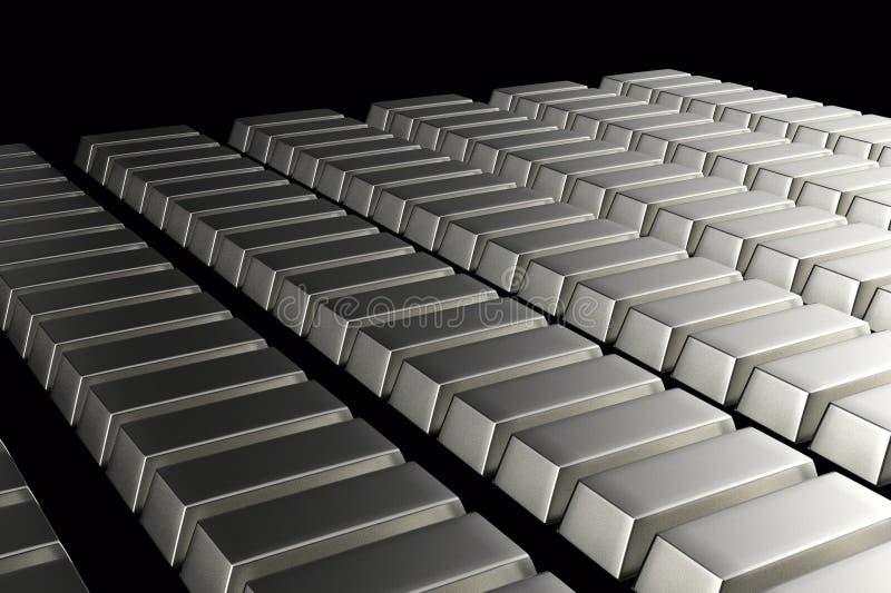 Brogujący bary srebna sztaba 3D koncepcja finansowego royalty ilustracja