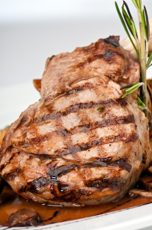 Broiled center cup veal chop closeup royalty free stock images