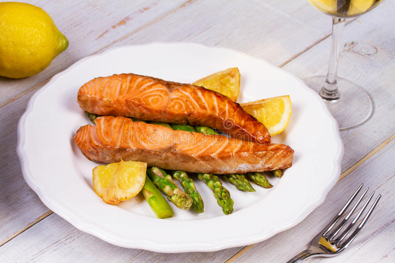 Broiled Salmon and Asparagus. stock image