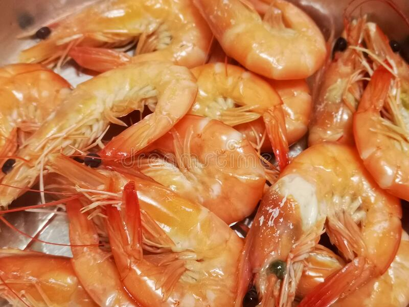 Broiled shrimps in hot water in Hong Kong. Broiled shrimps in royalty free stock photo