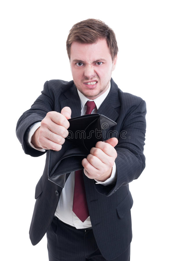 Broke businessman, accountant or financial manager concept stock image