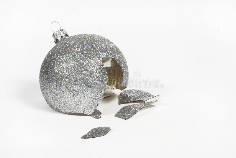 Broke christmas ball. Broke, broken, bust, busted, christmas, glass,white, backround, after, silver royalty free stock images