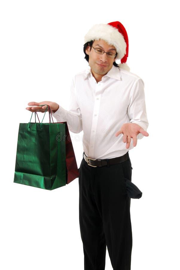 Broke Christmas shopper stock photo