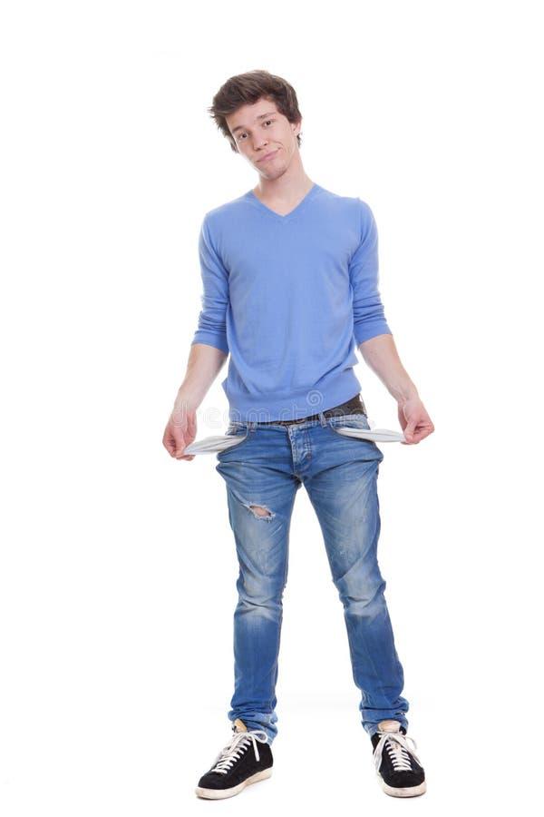 Broke unemployed youth. With empty pockets stock image