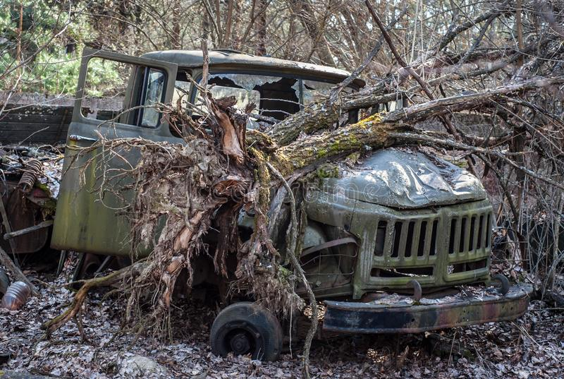 Broken old-style military track stays in forest in Chernobyl Exclusion Zone. Broken tree lays on its hood stock photo