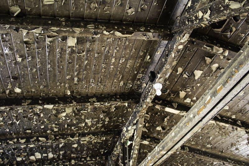 Broken wooden roof stock photos